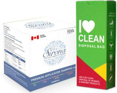 Women Intimate Hygiene Combo (sirona Premium Applicator Tampons-mix Pack + I Love Clean Disposal Bag