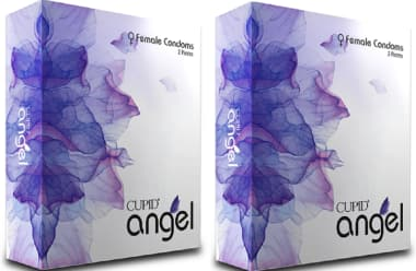 Cupid Angel Female Condom Lavender Purple Pack Of 2