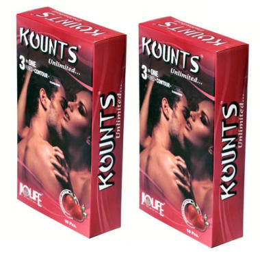 Kounts Condom Strawberry Pack Of 2