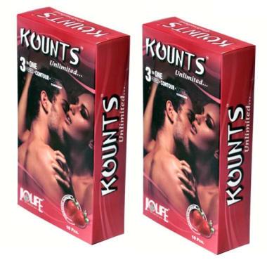 Kounts Condom Strawberry Pack Of 2
