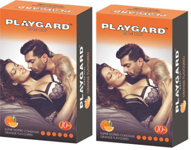 Playgard More Play Super Dotted Condom Orange Pack Of 2