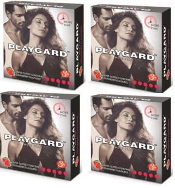 Playgard More Time Super Dotted Condom Strawberry Pack Of 4