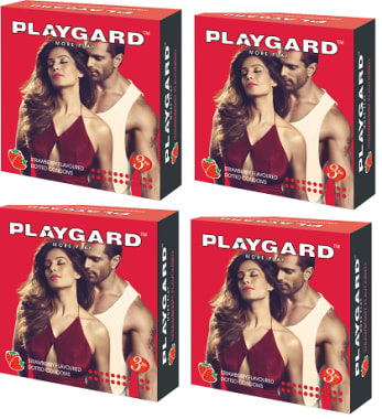 Playgard Dotted Condom Strawberry Pack Of 4