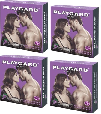Playgard Dotted Condom Black Grapes Pack Of 4