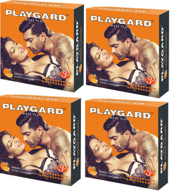 Playgard Dotted Condom Orange Pack Of 4