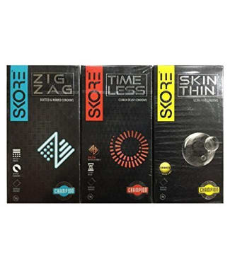 Skore Combo Pack Of Skore Zig Zag Condoms, Skore Time Less Condoms & Skore Skin Thin Condoms