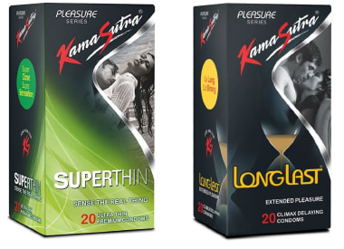 Kamasutra Combo Pack Of Kamasutra Pleasure Longlast Condoms & Kamasutra Pleasure Superthin Condom