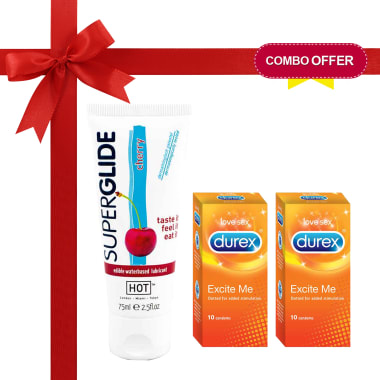 Thats Personal Combo Pack Of Durex Excite Me Condoms & Hot Superglide Lubricant