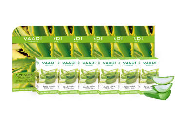 Vaadi Herbals Super Value Pack Of 6 Aloe Vera Facial Bars With Extract Of Tea Tree (25gm)