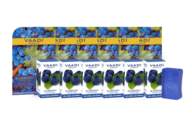 Vaadi Herbals Super Value Pack Of 6 Blueberry Facial Bars With Extract Of Mint (25gm Each)