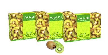 Vaadi Herbals Value Pack Of 3 Exotic Kiwi Soap With Green Apple Extract (75gm Each)
