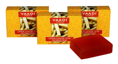 Vaadi Herbals Value Pack Of 3 Divine Sandal Soap With Saffron & Turmeric (75gm Each)