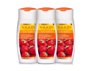 Vaadi Herbals Value Pack Of Strawberry Scrub Lotion With Walnut Grains Pack Of 3