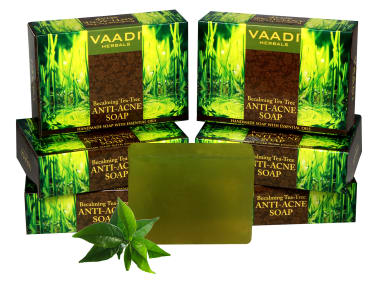 Vaadi Herbals Super Value Pack Of 6 Becalming Tea Tree Soap Anti-acne Therapy(75gm Each)