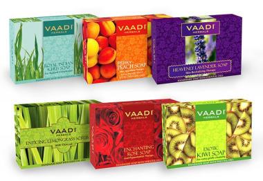 Vaadi Herbals Exotic Floavors Pack Of 6 Luxurious Handmade Herbals Soaps (75gm Each)