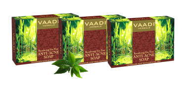 Vaadi Herbals Value Pack Of 3 Becalming Tea Tree Soap Anti-acne Therapy (75gm Each)