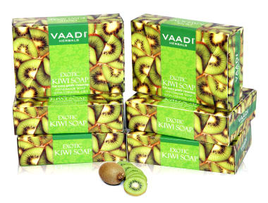 Vaadi Herbals Super Value Pack Of 6 Exotic Kiwi Soap With Green Apple Extract