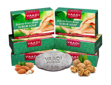 Vaadi Herbals Super Value Pack Of 6 Elbow-foot-knee Scrub Soap With Almond & Walnut Scrub