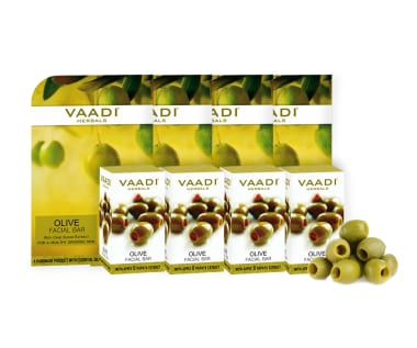Vaadi Herbals Value Pack Of 4 Olive Facial Bars With Cane Sugar Extract (25gm Each)