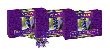 Vaadi Herbals Value Pack Of Heavenly Lavender Soap With Rosemary Extract (75gm Each)