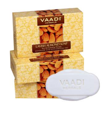 Vaadi Herbals Value Pack Of 3 Lavish Almond Soap (75gm Each)