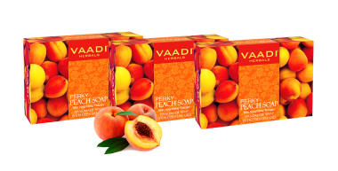 Vaadi Herbals Value Pack Of 3 Perky Peach Soap With Almomd Oil