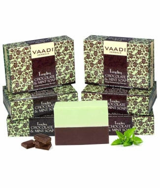 Vaadi Herbals Super Value Pack Of 6 Tempting Chocolate & Mint Soap-deep Moisturising Therapy (75gm E