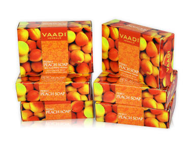 Vaadi Herbals Super Value Pack Of 6 Perky Peach Soap With Almond Oil