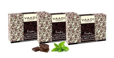 Vaadi Herbals Value Pack Of 3 Tempting Chocolate & Mint Soap-deep Moisturising Therapy (75gm Each)