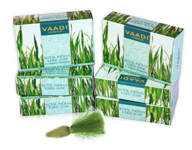 Vaadi Herbals Value Pack Of 6 Royal Indian Khus Soap With Olive & Soyabean Oil (75gm Each)