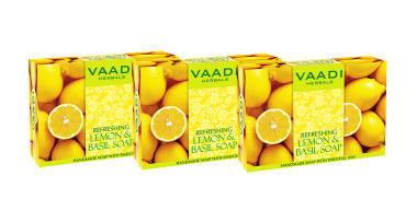Vaadi Herbals Value Pack Of 3 Refreshing Lemon & Basil Soap (75gm Each)