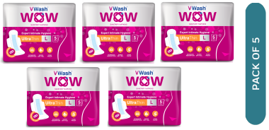 Vwash Wow Sanitary Napkin Ultra Thin L Pack Of 5