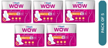 Vwash Wow Sanitary Napkin Ultra Thin Xl Pack Of 5