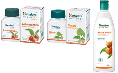 Himalaya Wellness Anti-stress Combo Pack (ashvagandha 60 Tablets, Tagara 60 Tablets, Stress Relief M