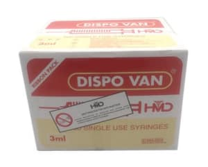 Dispovan 3ml Syringe with 24G Needle