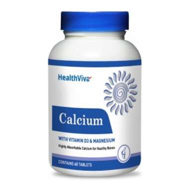 Healthviva Calcium (with Vitamin D3 & Magnesium), Unflavoured Tablet