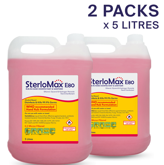 Pack of 2 SterloMax 80% Ethanol-Based Hand Rub Sanitizer & Disinfectant (Pack of 2 x 5 litre)
