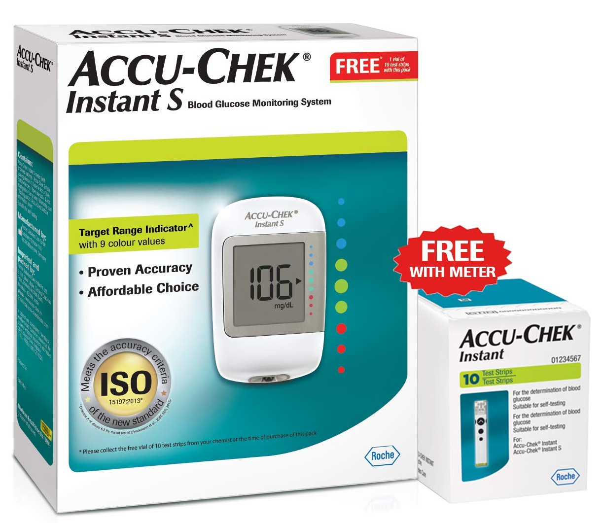 Accu-Chek Instant S Blood Glucometer with 10 Test Strip Free