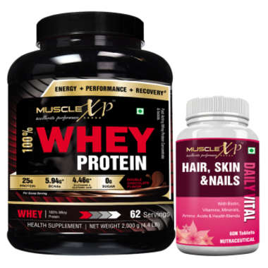 Musclexp 100% Whey Protein 2kg, Double Chocolate With Musclexp Hair, Skin & Nails Advanced Multivita