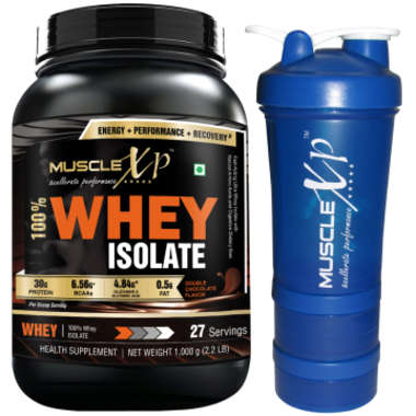 Musclexp 100% Whey Isolate 1kg, Double Chocolate With Shaker-500ml (design 14)