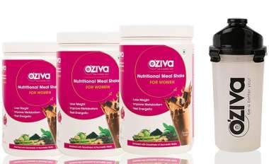 Oziva Nutritional Meal Shake (meal Replacement) For Women 1kg (pack Of 3), Chocolate With Free Shake