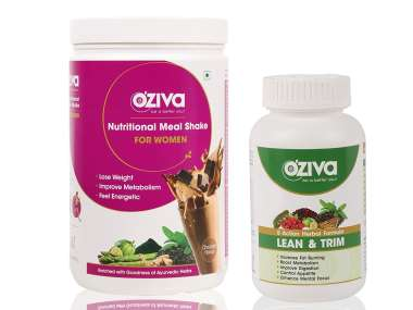 Oziva Combo Pack Of Nutritional Meal Shake Women-1kg Chocolate And Lean & Trim-120 Tablets