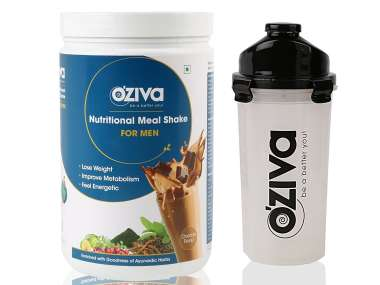 Oziva Nutritional Meal Shake (meal Replacement) For Men 1kg, Chocolate With Free Shaker