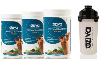 Oziva Nutritional Meal Shake (meal Replacement) For Men 1kg (pack Of 3), Chocolate With Free Shaker