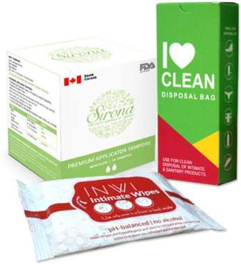 Women Intimate Hygiene Combo (sirona Applicator Tampons Mini Flow + I Love Clean Disposal Bag + Inwi