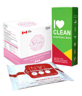 Women Intimate Hygiene Combo (sirona Applicator Tampons Normal Flow + I Love Clean Disposal Bag + In