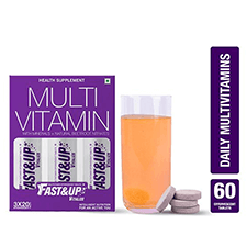 Pack of 4 Fast&Up Vitalize Multivitamin Effervescent Tablet - Orange Flavour (Pack of 3 x 20's)